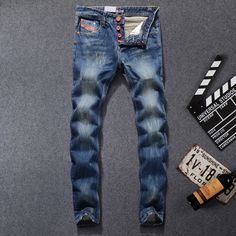 2017 High Quality Dsel Brand Men Jeans Fashion Designer Distressed Ripped Jeans Men Straight Fit Jeans Homme,100% Cotton,777-B #Affiliate