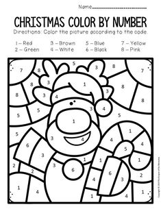 Color by Number Christmas Preschool Worksheets Color by Number Christmas Preschool Worksheets Rudolph Color Worksheets For Preschool, Preschool Christmas Activities, Kids Learning Activities, Color Activities, Kindergarten Worksheets, In Kindergarten, Vocabulary Activities, Preschool Printables, Christmas Color By Number
