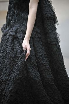 Dark Romance - black feathers and and amazing feathered lace texture detail // Alexander McQueen