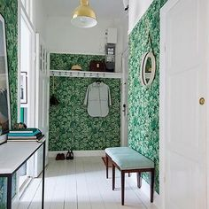 Foyer Faux Pas: The Do's—and Don'ts—of Decorating an Entryway Wallpaper Ceiling, Bold Wallpaper, Entryway Wall, Foyer, Turbulence Deco, Small Shelves, Vintage Interiors, Wall Storage, Wall Treatments