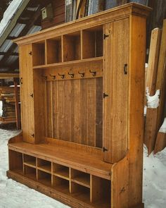 Rustic Pine Hall Tree Double Locker Bench
