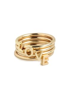 gold stacked love rings