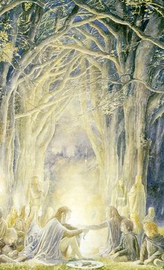 """Gildor & Company by Alan Lee. """"Seldom give unguarded advice, for advice is a dangerous gift, even from the wise to the wise, and all courses may run ill."""""""