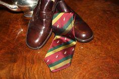 Super elegant 70s Brown leather moccasins silk Regimental tie and lovely silver plate tea pot