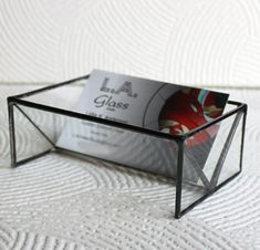 Clear Stained Glass Business Card Holder  by LAGlass on Etsy