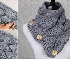 Crochet Leaf Stitch Cowl Free Pattern