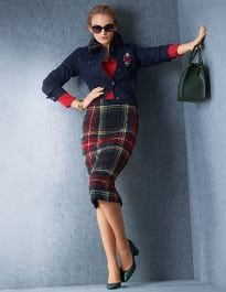 Madeleine is undergoing maintenance Madeleine Fashion, Tartan Dress, Glamour, Plaid Skirts, Couture, Blazers For Women, Pretty Outfits, Pretty Clothes, Pumps