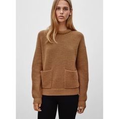 *✨HP!* Aritzia Wilfred Free Marija Sweater Camel. Two front pockets. Merino wool. Oversized and thick. Great condition!!! Only selling because it's too big on me; that's why it looks bad on me in the photo! Aritzia Sweaters Crew & Scoop Necks