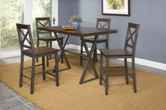 Crossing Five Piece Counter Height Dining Set by Largo - Riverview Galleries - Pub Table and Stool Set Durham, Chapel Hill, Raleigh Largo Furniture, Wolf Furniture, Fine Furniture, Industrial Furniture, Rustic Industrial, Pub Table And Stools, Table And Chair Sets, Counter Height Dining Sets, Nebraska Furniture Mart