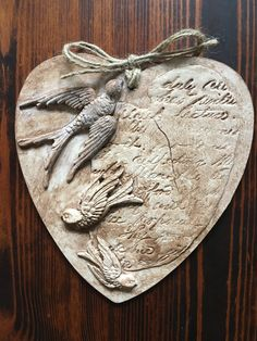 Valentine heart using Birdsong mould and Kindest Regards stamp with iod air dry clay Paper Mache Clay, Paper Clay, Valentine Heart, Valentine Crafts, Plaster Crafts, Wood Pallet Art, Chicken Painting, Clay Art Projects, Iron Orchid Designs