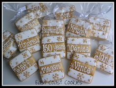 Could do polka dots or hearts instead of snowflakes. These were used as placecards for a wedding anniversary party. 50th Anniversary Cookies, Golden Anniversary, 50th Wedding Anniversary, Anniversary Parties, Anniversary Ideas, Biscuit Decoration, Xmas Cookies, Sugar Cookies, Handmade Birthday Cards