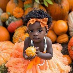 Cute Black Babies, Beautiful Black Babies, Brown Babies, Black Kids, Beautiful Children, Cute Babies, Mixed Babies, Baby Pumpkin Pictures, Baby In Pumpkin