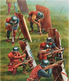 Mercenary Genoese Pavise Crossbowmen in French service on the field of Agincourt Medieval Weapons, Medieval Knight, Medieval Fantasy, Armadura Medieval, Military Art, Military History, Fantasy Warrior, Fantasy Art, Alter Krieger