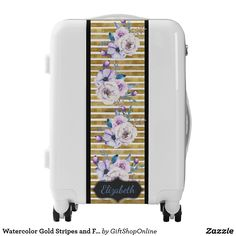 Watercolor Gold Stripes and Flowers Personalized Luggage