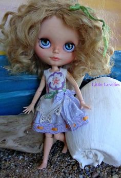 BLYTHE DOLL Dress - OOAK - Pearl. Mauve pansy embroidered on pure linen by LittleLovelieShop on Etsy