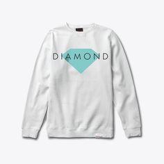 Diamond Solid Crewneck Sweatshirt in White