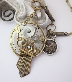 Steampunk Vintage Upcycled Pocket Watch Necklace - one of a kind by jryendesigns.etsy.com