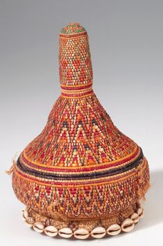 Africa | Basket from the Amhara people of Ethiopia | Plant fiber, hide, shell and dye | ca. 1967