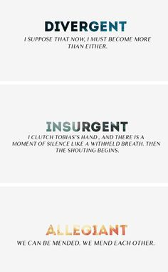 Last lines of each book in the Divergent series.
