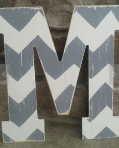 Monogram & Initial Gifts for Teen Girls: Chevron Wooden Alphabet Letters by Bless Her Heart Designs @ Etsy