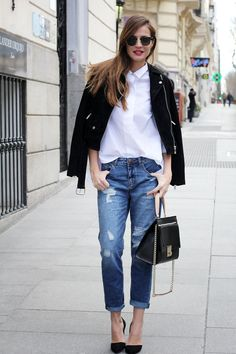 Casual Everyday Look - ripped jeans, white shirt, black jacket, high heels