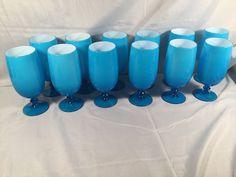 Vtg 12 Carlo Moretti Opaline Blue White Case Art Glass Goblets Italy RARE | eBay