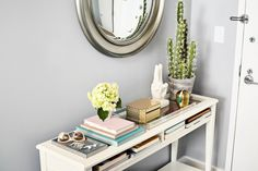 How To Style the Perfect Console or Entryway Table | the foyer is the only space that absolutely every guest sees of your abode, no matter how far you let them venture in. Your entryway, regardless of how large or basically non-existent it is, should be functional and beautiful. It should provide a glimpse into your home decor-wise.