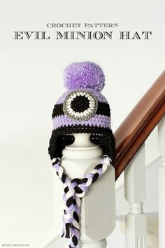 Evil Minion Inspired Baby Hat Crochet Pattern...don't know if it's free but can figure it out by the picture.