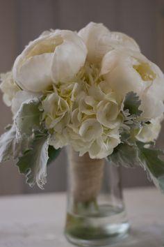 #whitewedding#weddingflowers#bouquet#peonies#hydrangeas#dustymiller#bradfordgreenhouses