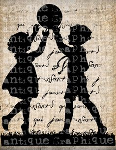 Antique Silhouette French Children Playing Paris Digital Download for Papercrafts, Transfer, Pillows, etc. Burlap No 5405. $1.00, via Etsy.
