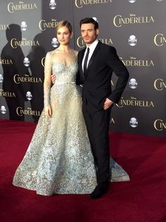 Lily James and Richard Madden at the 'Cinderella' World Premiere in Los Angeles on March 1st, 2015