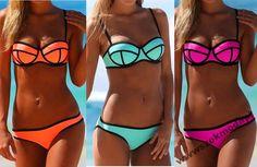 Neonowe bikini STROJ kapielowy 409 SIWIEC 38 M 24h
