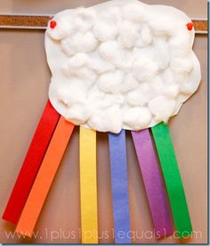 rainbow cloud craft plus lots of great workbox and other ideas on this blog