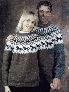 "DIY kit horses sweater | grey ""Hestapeysa"" Icelandic pullover lopapeysa sweater jumper unisex Ístex lett lopi knitting"