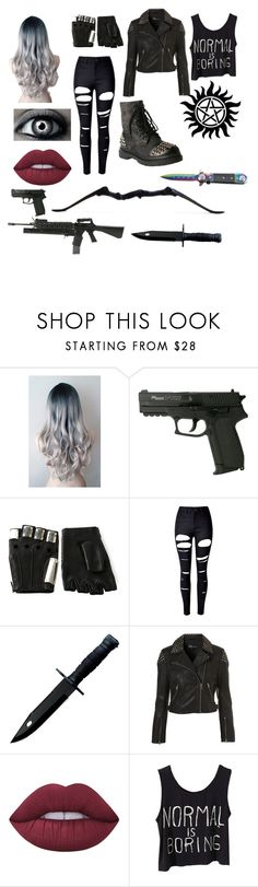 """""""Isabelle (Izzy) Winchester"""" by sammy-herondale ❤ liked on Polyvore featuring Majesty Black, WithChic, Topshop, Lime Crime, Gia-Mia and Bow & Arrow"""