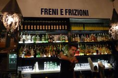 Freni e Frizioni in Roma, Lazio  No night on the town would be complete without a stop in the once gritty, now hopping neighborhood of Trastevere. Cool bars include Freni e Frizioni (Via del Politeama, 4-6; 39-06-4549-7499; freniefrizioni.com), where you can drink while looking out on the Tiber.