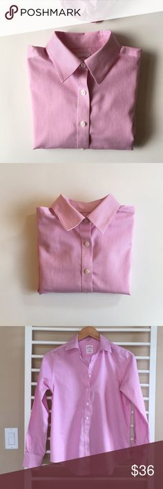 "Brooks Brothers Pink Pinstripe Non Iron Shirt 4P Excellent condition. Feminine yet classic pink stripes on white. Classic fit button down. 26"" length, 19"" bust, 23.5"" sleeve. Non smoking, pet free home. Thanks for shopping my closet! Brooks Brothers Tops Button Down Shirts"