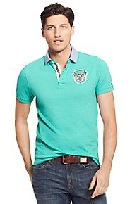 SLIM FIT BADGE POLO WITH WOVEN COLLAR $40.00