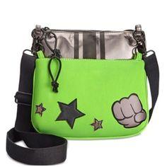 Ideology 2-in-1 Crossbody Metallic Handbag, Removable Fist Bump Pouch, Silver Lime Green