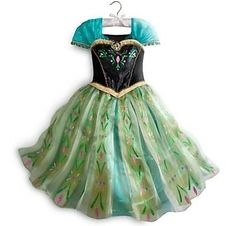 9/10 9 10 Girls DISNEY STORE FROZEN Anna GREEN CORONATION Dress COSTUME New ELSA