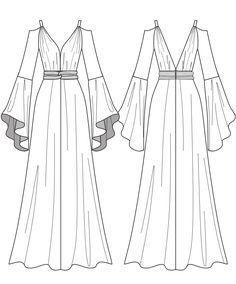 Fashion Drawing Dresses, Fashion Illustration Dresses, Dress Design Sketches, Fashion Design Sketches, Fashion Sketchbook, Mode Kimono, Fashion Design Template, Fashion Art, Fashion Outfits