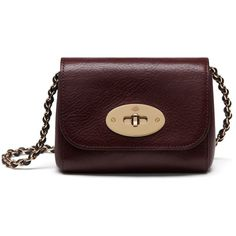 Mulberry Mini Lily ($510) ❤ liked on Polyvore featuring bags, handbags, shoulder bags, oxblood, oxblood purse, chain strap handbag, lily handbags, red purse and mulberry purse