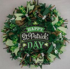 Happy St. Patrick's Day Burlap and Mesh Wreath Saint