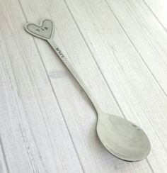 Personalized Hand Stamped stainless steel heart couples spoon