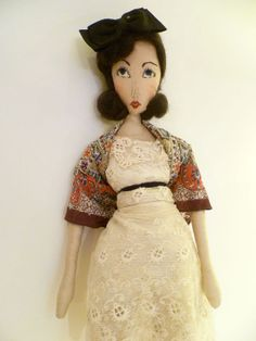 """""""Peg""""~Embroidered Cloth Display Doll by Forgotten Stitches, 2014"""