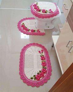 Crochê tapete banheiro rosa #crochê #decor