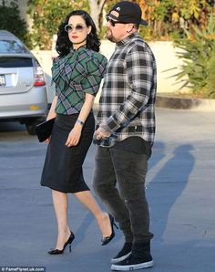 Beauty and the beast: Dita had come dressed up for the occasion, while 34-year-old Benji r...
