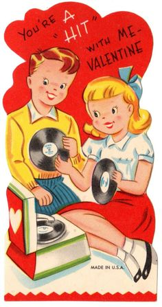 Teens Play 45 RPMs on Old Phonograph Record Player Vintage Valentine Card   eBay