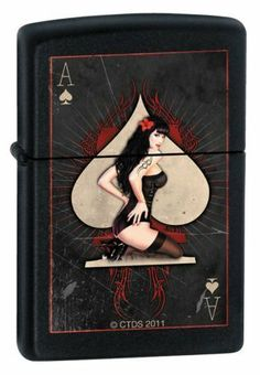 CT Ace Pin-Up Black Matte Lighter ZCI007280 by Trevco. $34.95. This black matte lighter features an ace of spades pin-up girl design. This lighter is made to order by the manufacturer. Ships within 5-10 business days from when ordered.