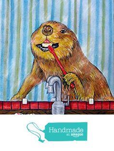 Beaver brushing Teeth dentist bathroom Decor gift signed art Print from Schmetzpetz https://www.amazon.com/dp/B017T3QXUG/ref=hnd_sw_r_pi_dp_7bkMybFE9KKXS #handmadeatamazon